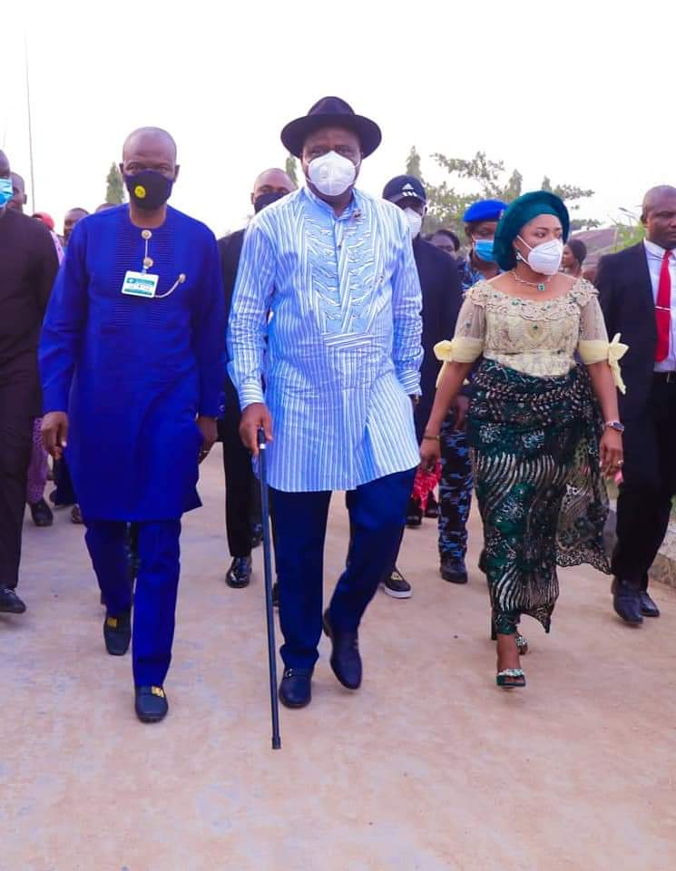 Diri (middle), his Deputy (left) and wife arriving Akugbene-mein community