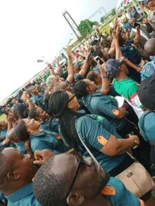 Some workers in Akwa Ibom during today's May Day celebration