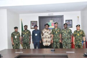 Gov. Diri, his deputy, the new FOC Central Naval Command and other top Naval officers