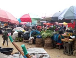 Some of the traders in their makeshift shops