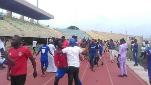 Players and officials of Bayelsa United after their victory against Gateway