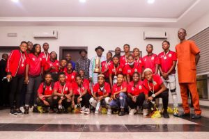 Gov Diri, his deputy and players of the victorious Bayelsa Queens